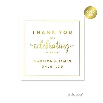 amazon com andaz press personalized square wedding favor gift