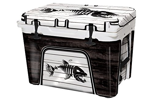 USATuff Wrap (Cooler Not Included) - Full Kit Fits YETI 65qt Tundra - Protective Custom Vinyl Decal - Bonefish White Wood