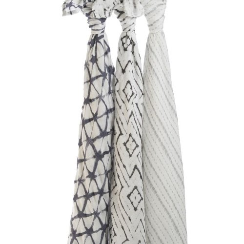 Aden + Anais Silky Soft Swaddle Baby Blanket; 100% Viscose Bamboo Muslin; Large 47 X 47 inch; 3 Pack; Pebble Shibori; Grey