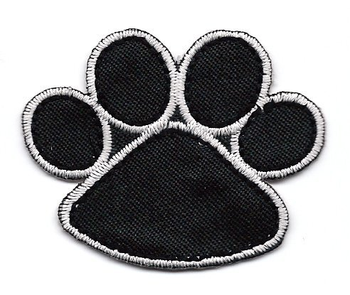 Clifford the Big Red Dog BLACK PAW PRINT Embroidered Iron On / Sew On Patch ~ puppy paw print
