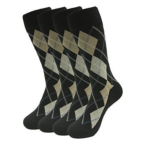 Mens Dress Socks, SUTTOS Mens Dress Socks, 4 Piece Ultimate Yellow Black Argyle Dress Socks Nordic Striped Stretch Soft Mid Calf Long Tube Crew Boot Sock Business Casual Dress Socks,Colored striped Cotton Formal Socks ()