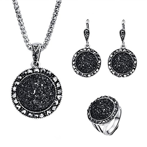 - Celendi_ Jewelry Set Fashion Black Circular Stone Ring Necklace Earring Ring for Women