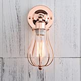 Permo Industrial Vintage Metal Wire Cage Wall Sconce Lighting Fixture Ceiling Mount Light (Copper)