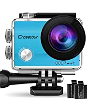 Crosstour Caméra Sport 4K Ultra HD Wi-FI 20 MP avec Télécommande Appareil Photo Caméscope Étanche 30M 170 °Grand-Angle avec 2 Pouces LCD 2 Batteries Rechargeables 1050mAh et 18 Accessoires CT9000