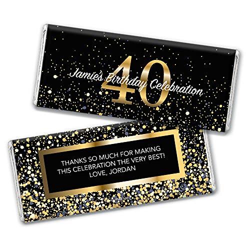 (Beach Themed Milestone 40th Birthday Candy Favors Custom Hershey's Chocolate Bars (36 Count))