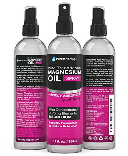 Pure Magnesium Oil Spray - LEAST ITCHY and Highest Potency - ONE 12fl. Oz Transdermal Magnesium Oil - Used for Joint Pain, Sore Muscles, Insomnia, Restless Leg Syndrome, Headaches and more - Made in USA (Leg Restless Pain)