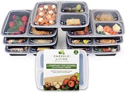 3 compartimento sin BPA comida Prep recipientes. Reutilizable ...