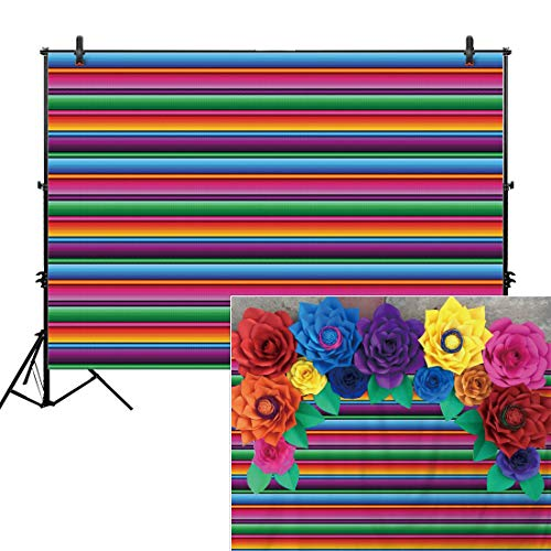 (Allenjoy 10x8ft Color Fiesta Theme Party Stripes Backdrop Cinco De Mayo Mexican Festival Photography Background Cactus Banner Decoration Event Table Decor Banner Background Children Photo Booth)