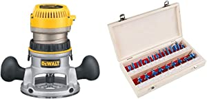 """DEWALT Router, Fixed Base, 1-3/4-HP (DW616) & Router Bit Set- 24 Piece Kit with ¼"""" Shank and Wood Storage Case By Stalwart (Woodworking Tools for Home Improvement and DIY)"""