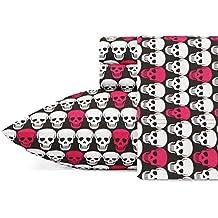 Betsey Johnson Skulls Sheet Set, Queen, Bright Pink