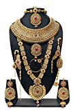 Bollywood Fabulous Style Gold Plated Crystal Stone Indian Necklace Earrings Bridal Set Jewelry