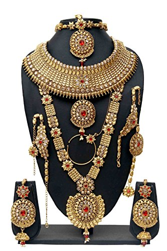 Bollywood Fabulous Style Gold Plated Crystal Stone Indian Necklace Earrings Bridal Set Jewelry by Shiv_Collection