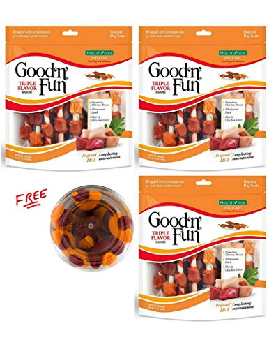 Good'n'Fun Triple Flavored Rawhide Kabobs Dog Treats, 12-Ounce – 54count with Free!