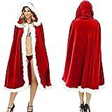 Christmas Costume Mrs. Santa Claus Cardigan Velvet Hooded Cape Cloak (S (Length 39.37''))