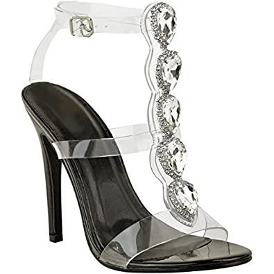 19e091cded9f Fashion Thirsty Heelberry® New Womens Ladies Perspex High Heel Jewel  Stiletto Sandals Strappy Shoes Size  Amazon.co.uk  Shoes   Bags