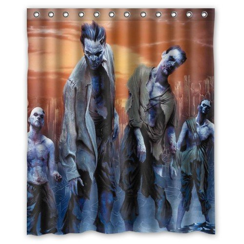 Shower Curtain Home Decoration Bathroom Funny Zombie Cat/Zombie Santa Claus/How to Kill A Zombie? Waterproof Fabric 60(w) x72(h) Inch