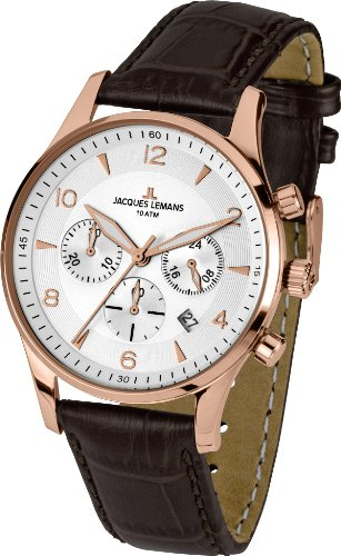 Jacques Lemans London 1-1654H 40mm Rose Gold Tone Case Leather Mineral Men's Watch