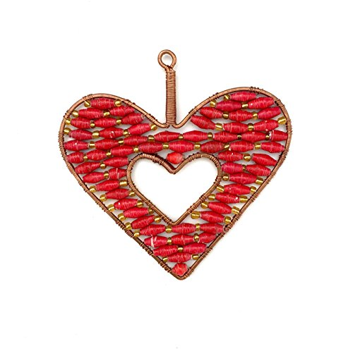 Handcrafted Heart Ornament in Copper and Colorful Beads - Fair Trade ()