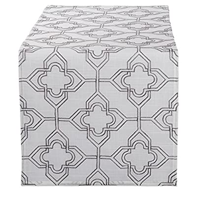 "DII Polyester Embroidered Table Runner for Spring Garden Party, Summer BBQ, Baby Showers and Everyday Use - 14x70"", Lattice on Off White Base - FOR YOUR TABLE - Our 100% polyester table runner measures 14x70"". Fits tables that seat 4-8 people. EASY CARE - 100% polyester. Hand wash cold, line dry. Low iron if needed. ADDS A FINISHING TOUCH - Fashioned in timeless lattice designs. Perfect for your summertime entertaining, spring garden party, outdoor BBQ or tropical themed party. - table-runners, kitchen-dining-room-table-linens, kitchen-dining-room - 51nddPzlTiL. SS400  -"