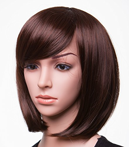 """Brunette Wigs (SWACC 11"""" Women Short Straight Synthetic Bob Wig Candy color Cosplay Wig Anime Costume hairpiece for Party with Wig Cap (Brown-10))"""