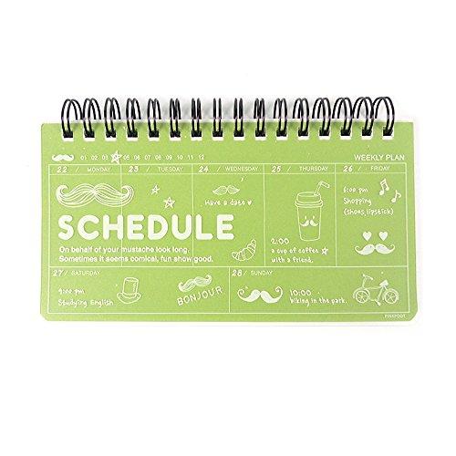 Pinkfoot Bonjour Weekly Planner Scheduler Organizer (GREEN)