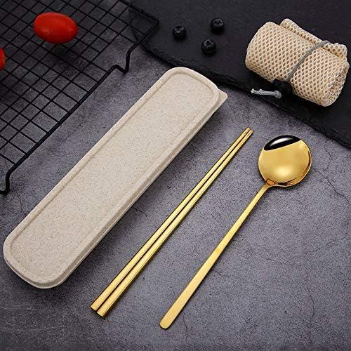 Cuchara vajilla palillos cuchara de acero inoxidable para adultos, china, coreana, vajilla palillos cuchara, escuela, oficina, viajes, caminatas al aire libre, oro + caja beige: Amazon.es: Hogar