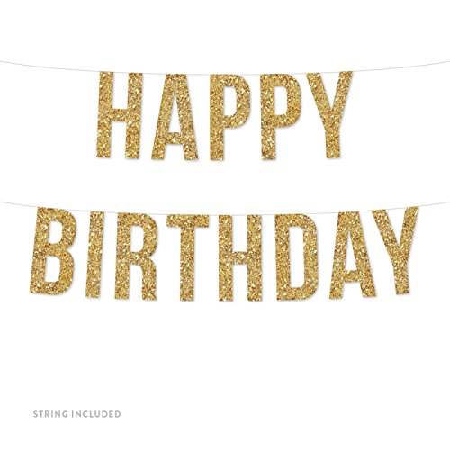 Andaz Press Real Glitter Paper Pennant Hanging Banner, Happy Birthday, Gold Glitter, Includes String, Pre-Strung, No Assembly Required, (Custom Paper Banners)
