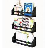Set of 3 Stylish Baby Nursery Room Wall Shelf 20 Inch Sturdy Birch Wood (black)