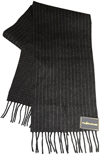 Polo by Ralph Lauren Mens 80% Lambs Wool Winter Scarf Charcoal & Grey Pinstripe