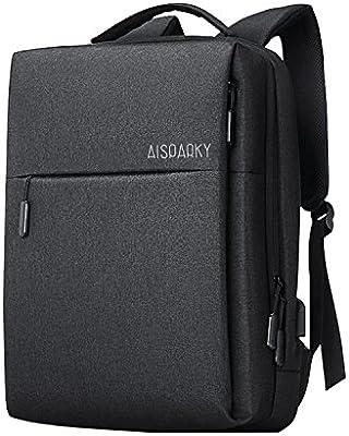 AISPARKY - Mochila para ordenador portátil, diseño de negocios, resistente al agua, con puerto de carga USB para estudiantes universitarios, para mujeres y ...