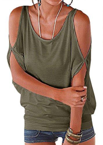 PINUPART Summer Loose Tops Cold Shoulder Shirt Pullover Blouse (Medium, Army (Shoulder Dolman Top)