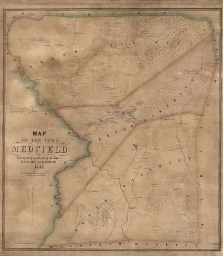 1852 Map of the town of Medfield - Size: 22x24 - Ready to Frame - Massachusetts | Medfield (Town) |