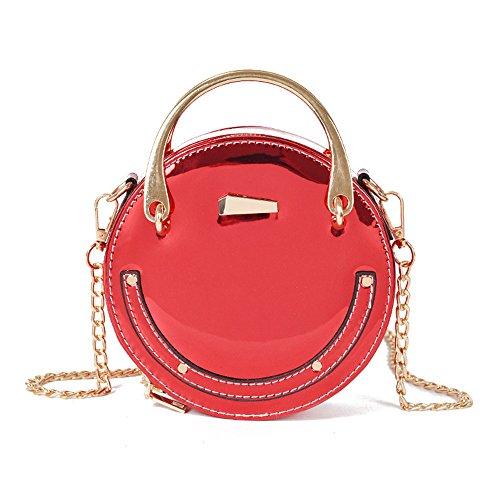 Sac Pu Sac Meaeo Rivet À Noir Ring Nouveau Bandoulière Bag Rond Red Petit fw5A48xq5