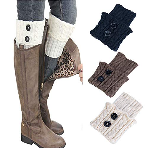 (Leg Warmers,TOTOD Clearance Women Winter Over Knee Socks Warm Thick Crochet Knit Boot Cuff Short Boot Cover,3 Pairs)
