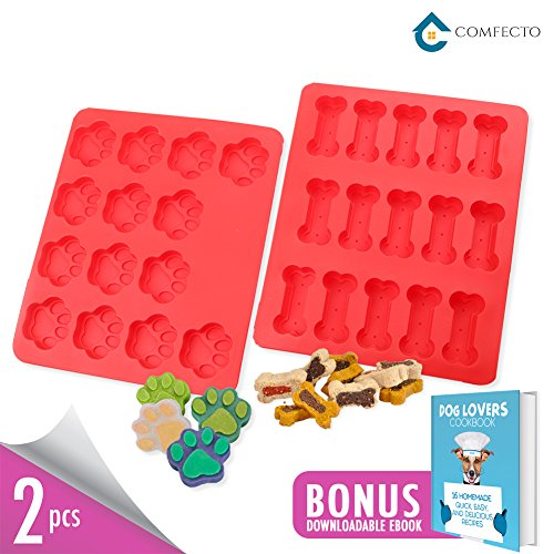 2 pcs Red Baking Pans Tray Premium Food Grade Non Stick Heat Resistant Silicone Mold Bakeware for Kids Dogs Birthday Homemade Cake Decoration Chocolate Cookies Jelly Candy Bread Brownies