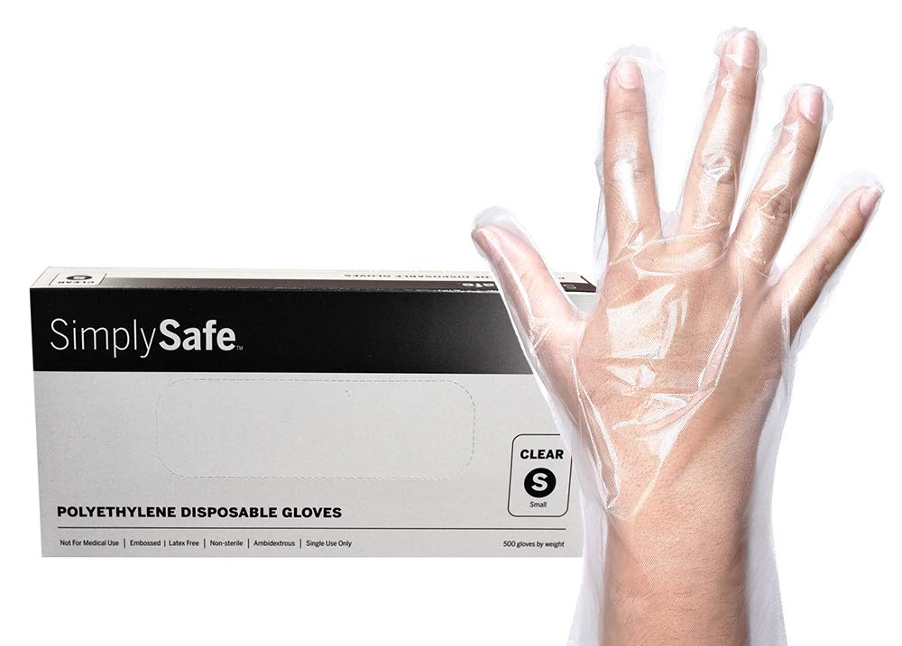 SimplySafe Poly Food Service Disposable Gloves, Translucent, 500 per Box/20 Boxes per case, Small, Case of 10,000