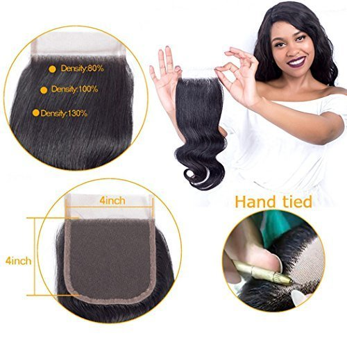 QTHAIR 10A Brazilian Body Wave Lace Closure (14inch) 4x4 Free Part Swiss Lace Closure Natural Black Brazilian Virgin Human Hair Top Swiss Lace Closures by QTHAIR (Image #6)