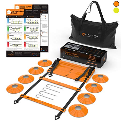 20ft Agility Ladder & Speed Cones Training Set - Exercise Workout Equipment To Boost Fitness & Increase Quick Footwork - Kit for Soccer, Lacrosse, Hockey & Basketball - With Carry Bag & Drill Charts (Strength Training For 13 Year Old Boy)