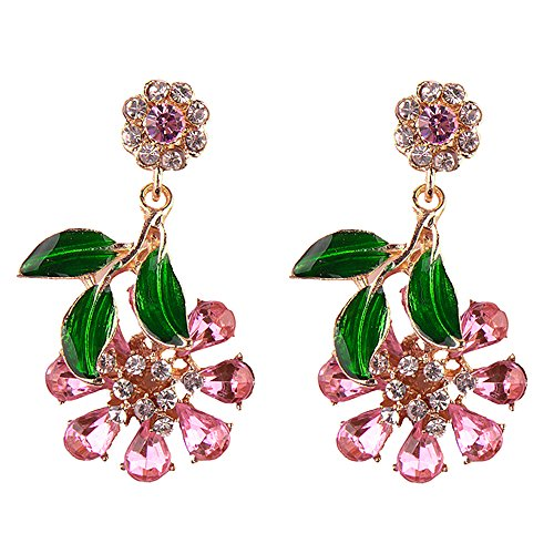 stals Statement Flower Drop Dangling Earrings Perfect Summer Earrings In Pink, Hot Pink, White, Aurora Borealis, and Navy Blue (Pink) (Aurora Borealis Flower)