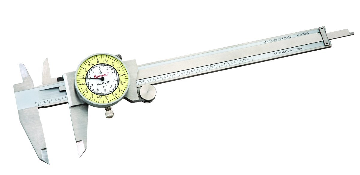 "Starrett 1202F-6 Dial Caliper, Stainless Steel, White Face, 0-6"" Range, -0.001"" Accuracy, 0.010"" Resolution, Meets Specifications"