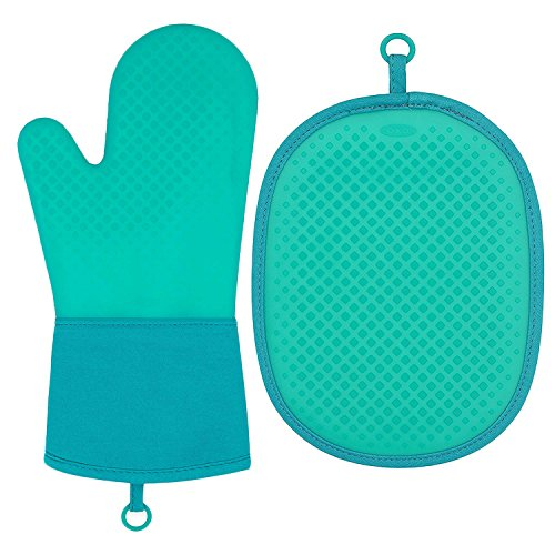 (OXO Heat Resistant Silicone Oven Mitt and Pot Holder 2pc-Set, Teal)