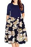 Nemidor Women's Floral Print Vintage Style Plus Size Swing Casual Dress (16, Blue+White)