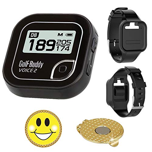 GolfBuddy Voice 2 Golf GPS/Rangefinder Bundle with Wrist Band and Magnetic Hat Clip Ball Marker (Smiley Face)
