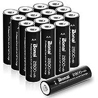 Bonai 16 Pack 2800mAh AA Rechargeable Batteries 1.2V Ni-MH High-Capacity Low Self Discharge - UL Certificate