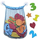 Non Toxic 44 Piece Set of Foam Bath Letters and Numbers With Bonus Shapes. Best Educational Toys, Bath Toys And Toddler Gift With Bonus Bath Toy Organizer For Tidy Storage
