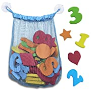 Non Toxic 44 Piece Set of Foam Bath Letters and Numbers With Shapes Included - Educational Toys And Bath Toys With Bath Toy Organizer Included For Tidy Storage