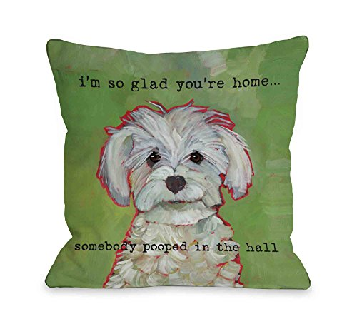 - One Bella Casa 12166PL16 Somebody Pooped Pillow by Ursula Dodge 16