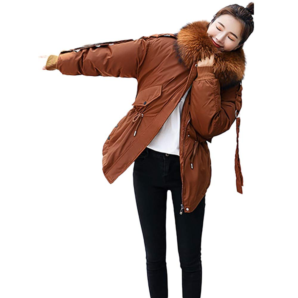 Brown Aries Esther Women's Down Cotton Coat Parka Winter Hooded Jacket Outwear
