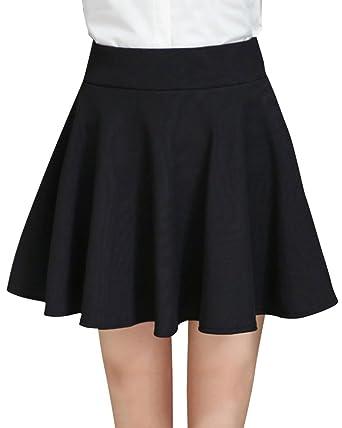 Femme Grande Taille Jupe Patineuse Taille Haute Short Jupe Trapèze Noir M 641281be23ac