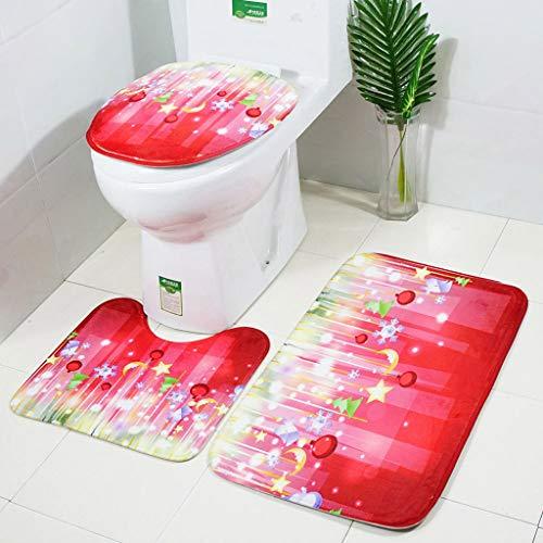 Christmas Best Decoration!!!Kacowpper 3pcs Non-Slip Suction Grip Bath Mat Bathroom Kitchen Carpet Doormats Decor -